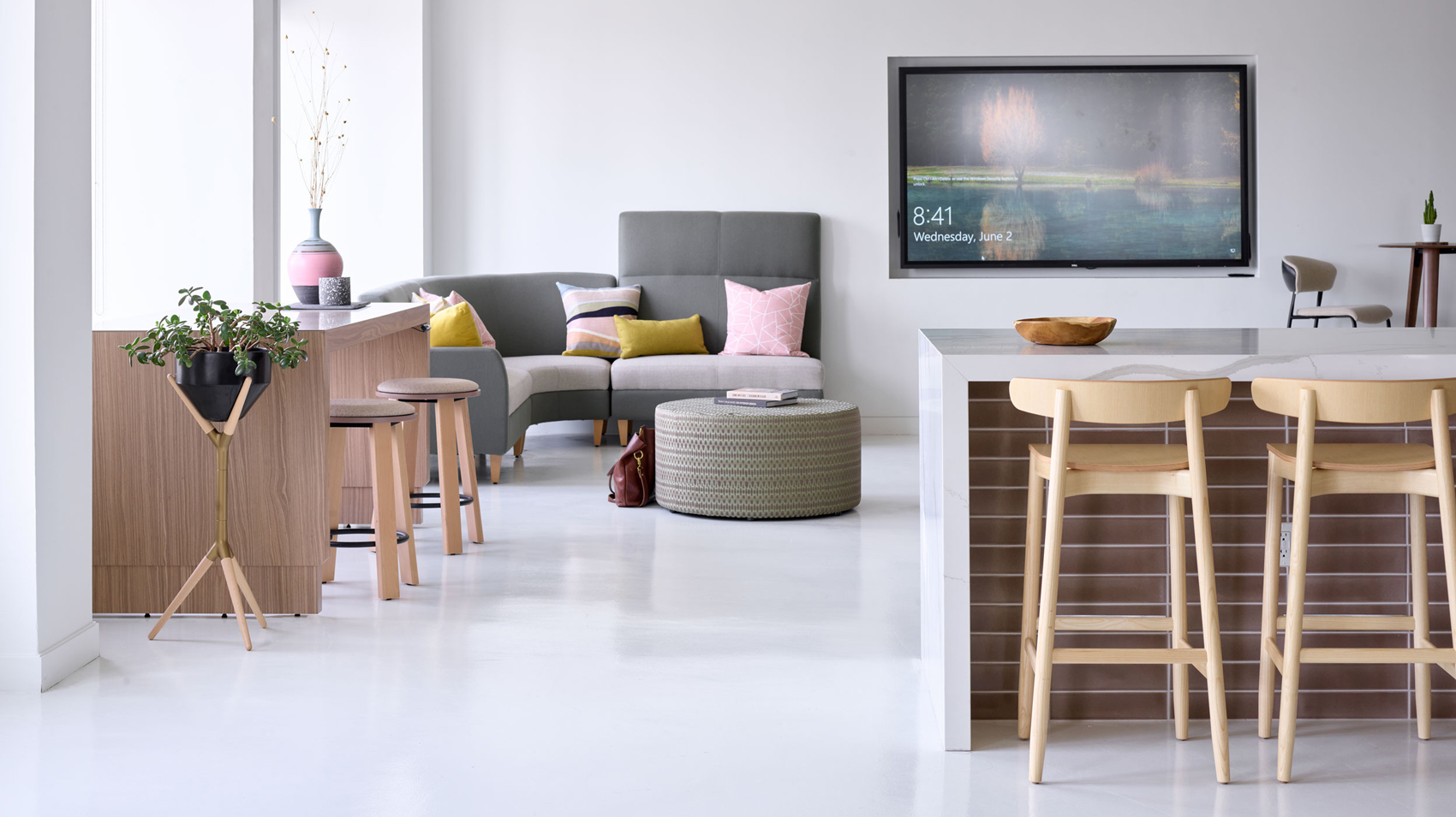 Barstools, workstations, and lounge areas in New York City