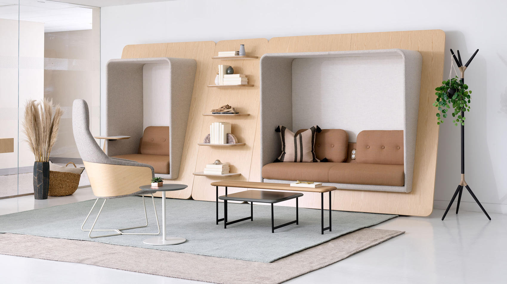 Private lounge area with workstation