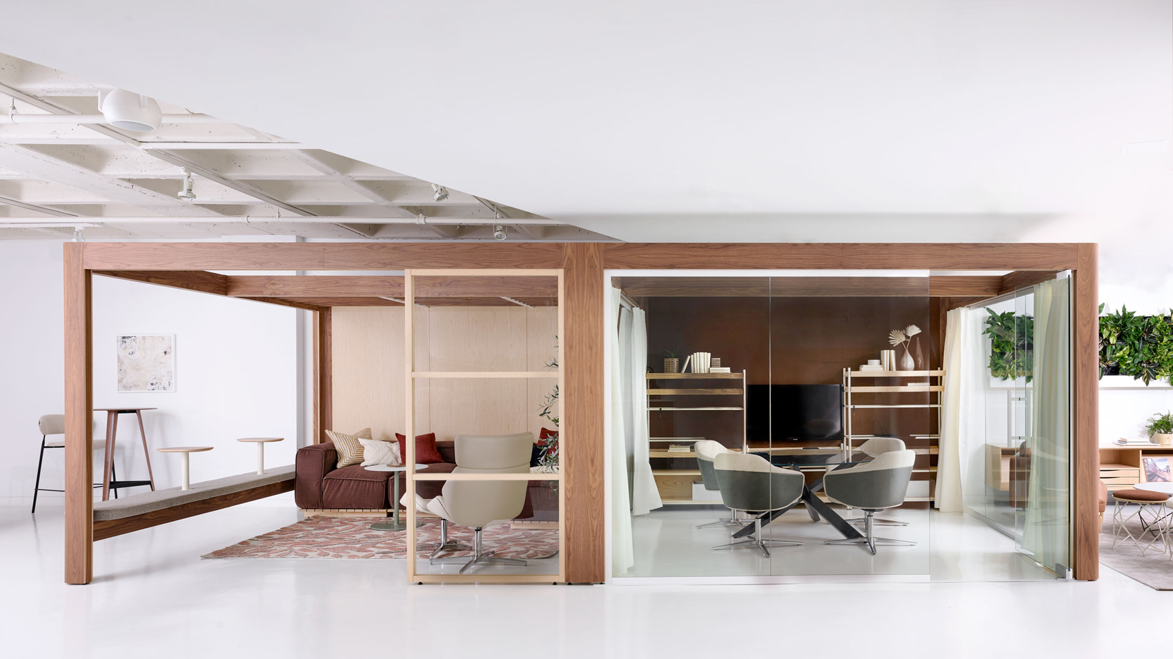 Soft architecture work areas within larger open workspace
