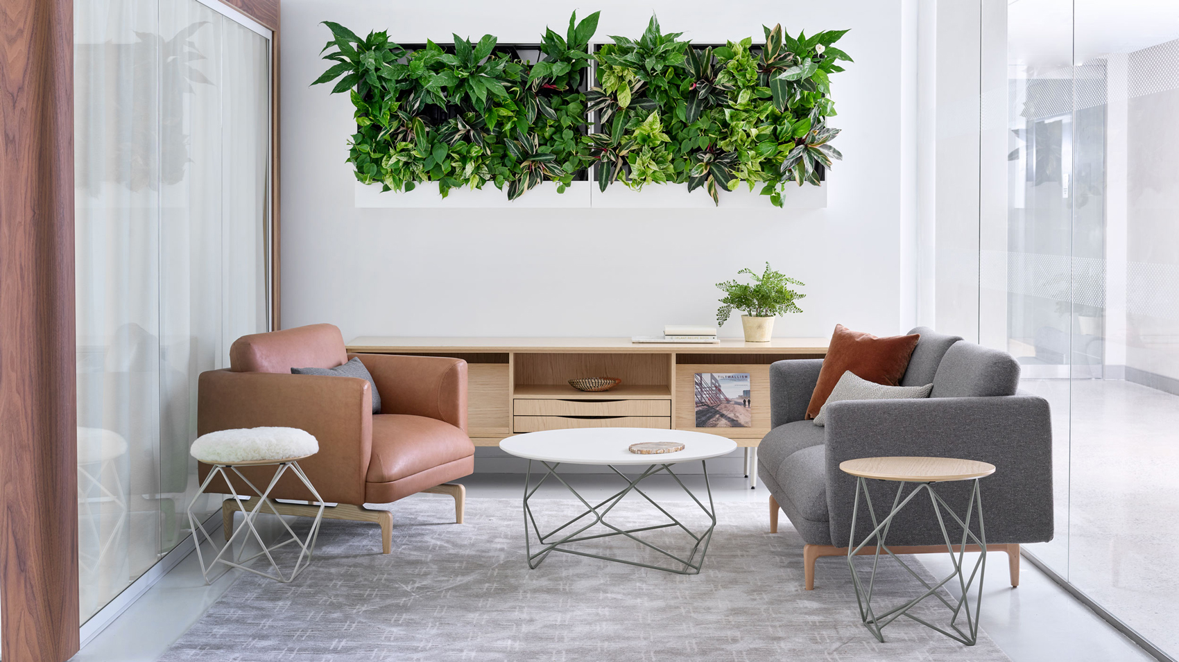 New York City Showroom featuring lounge area and living wall planter