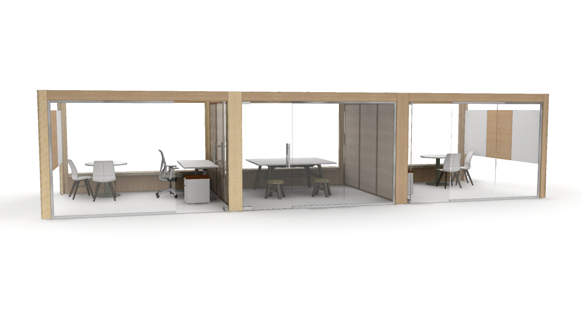 Triple Obeya set up with two small offices flanking a central meeting space.