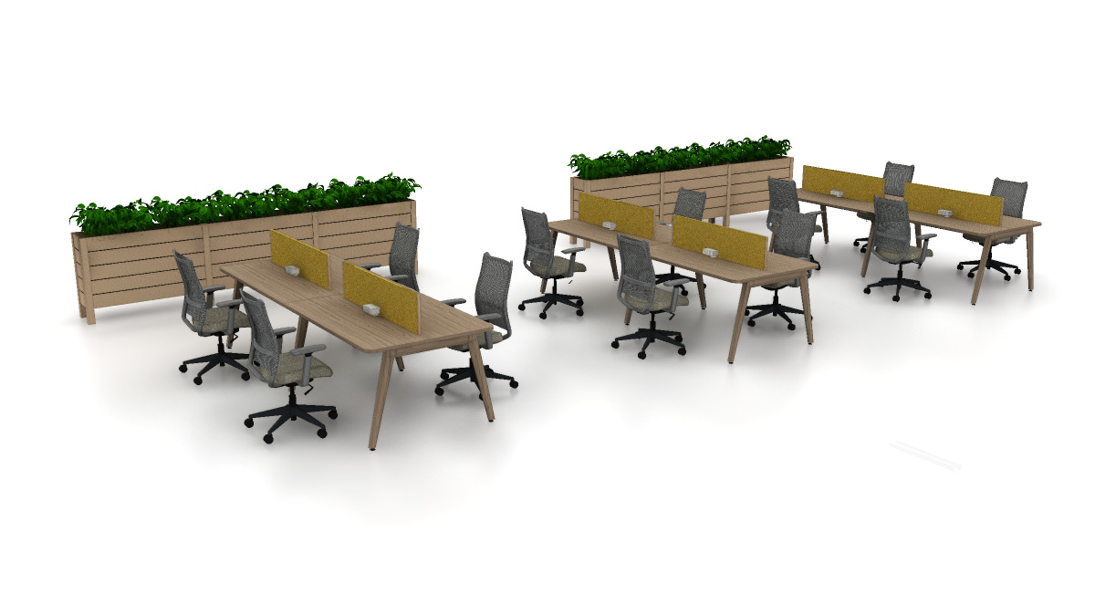 Eleven Workspace, Intermix planter, and Sladr