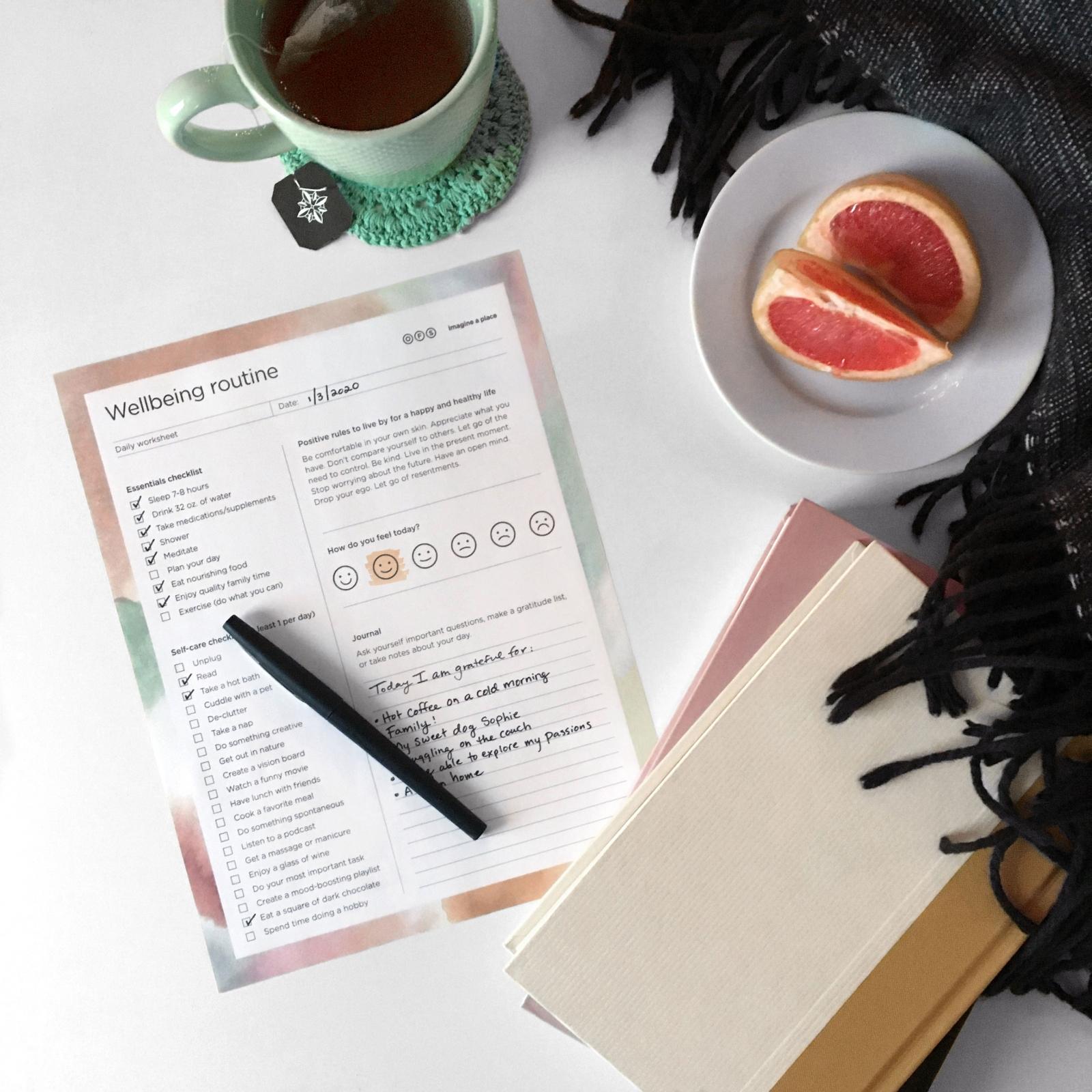 Wellbeing routine worksheet