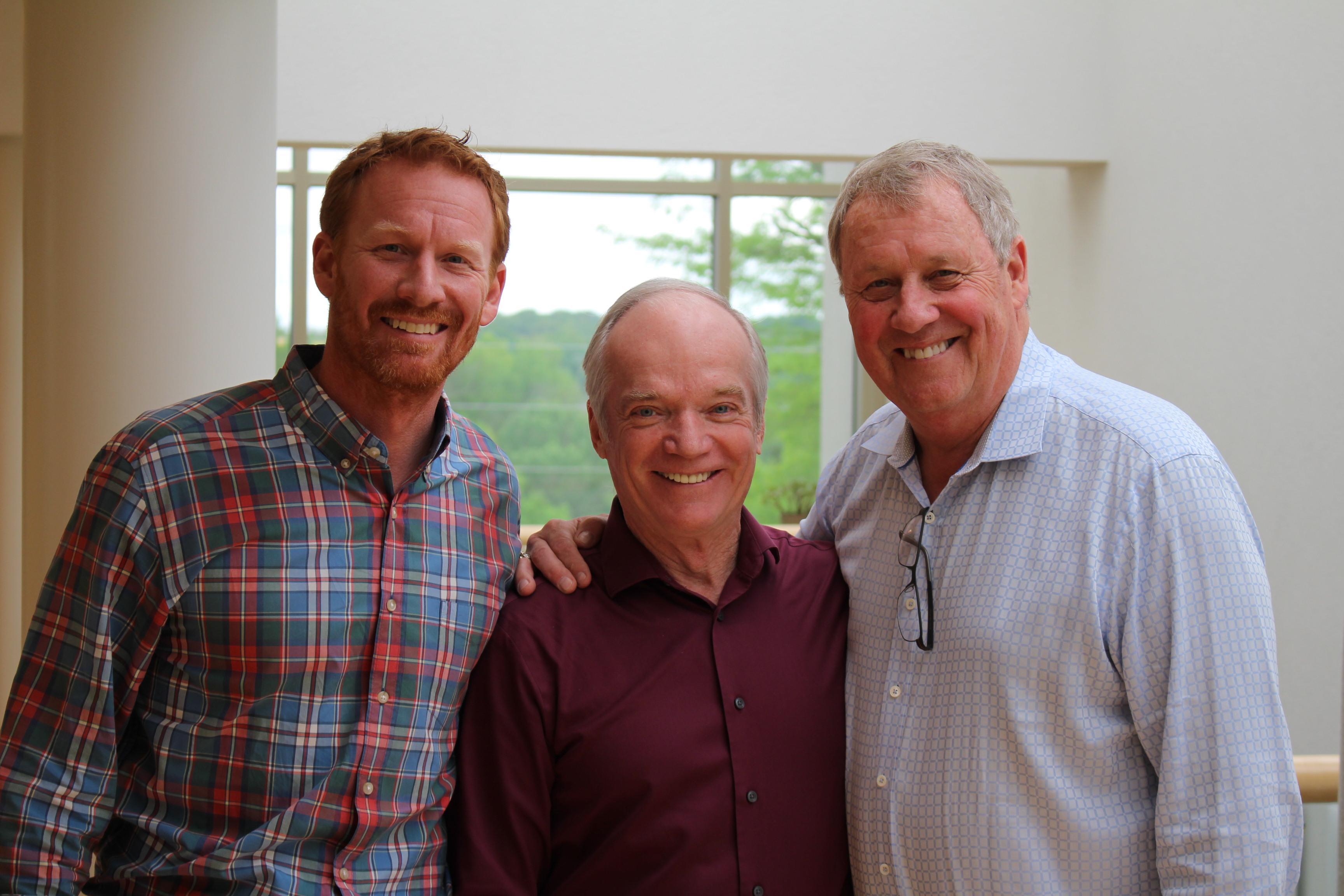 Hank Menke, Commander Precourt, Ryan Menke (left to right)