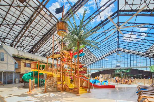 Colorful indoor water park playground