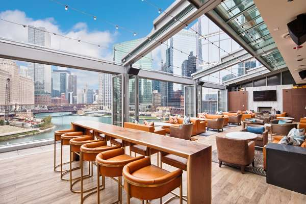 Bar dining area overlooking the Chicago city skyline