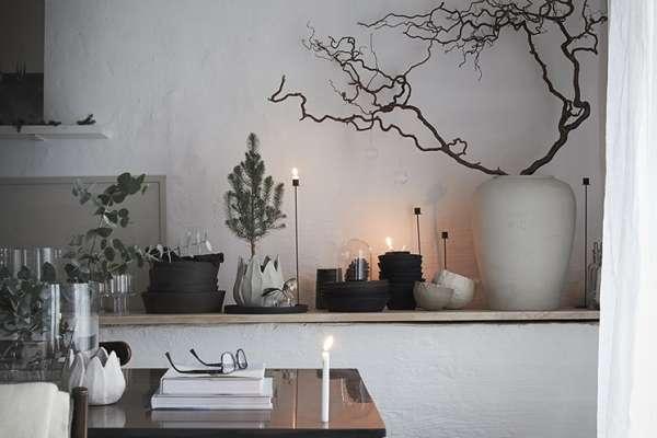 Candlesticks, natural tree, interior decor