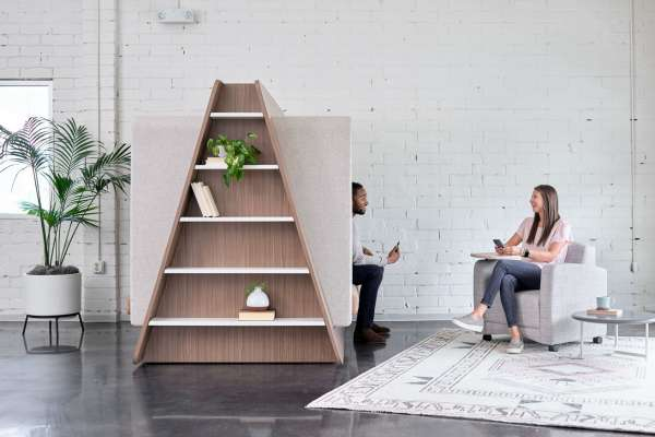 Collaborative area with lounge + shelving