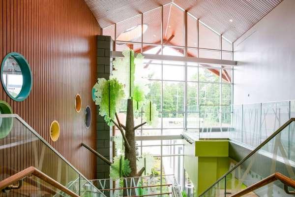 Children's hospital artistic tree through large window