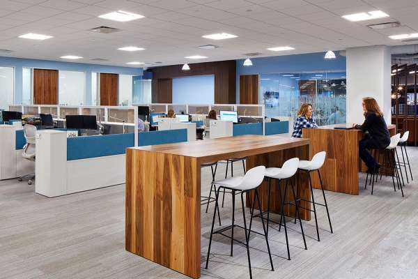 Workplace with a variety of collaborative areas