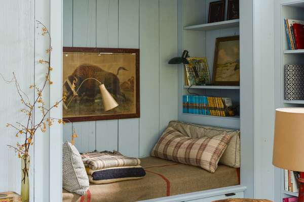 Built-in seating nook with warm interior design accents
