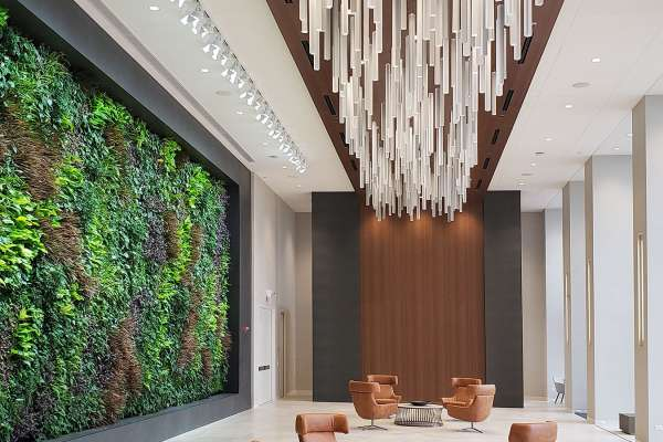 Live green wall in a large open lobby