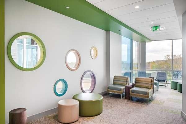 Children's hospital lobby with fun window cutouts