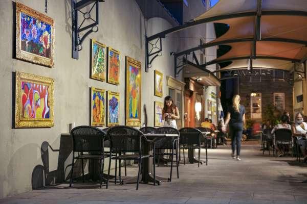 Fresh Artists' artwork displayed at restaurant