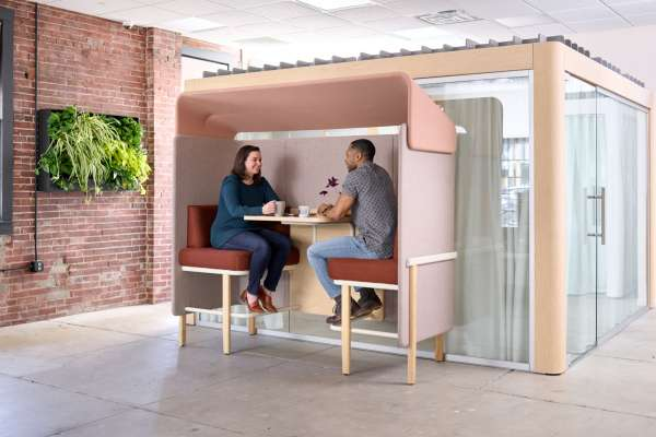 Co-working space with two-person touchdown workstation