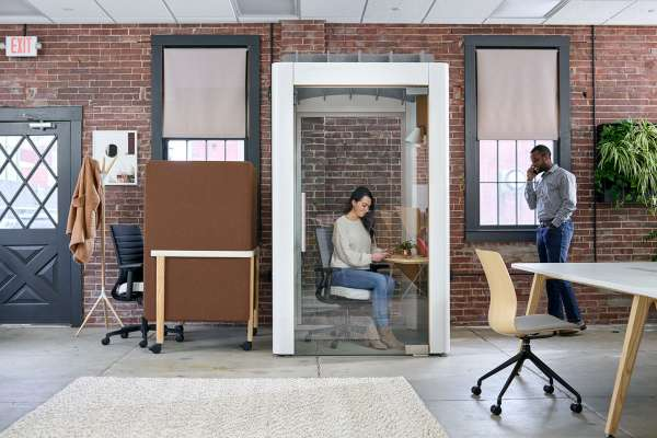 Private call room within co-working space