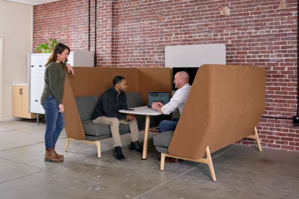 Collaborative area within co-working space in Southern Indiana