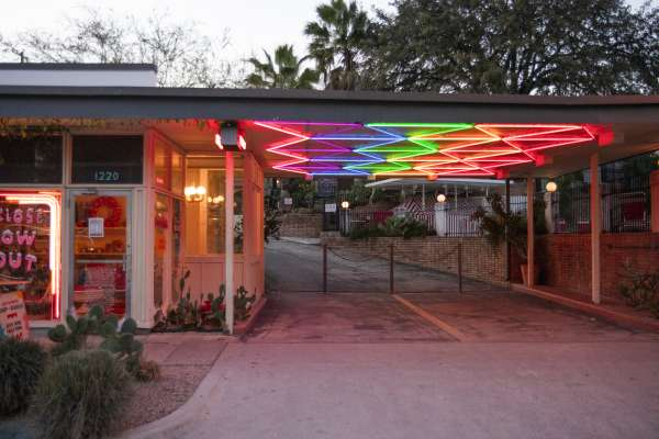 Building with rainbow lights to accentuate architecture
