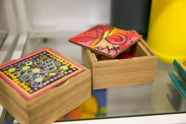 Decorative storage containers designed by kids at Fresh Artists