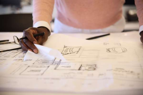 Chris Heard working on architectural drawings