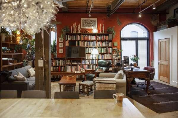 Home interior with intricate interior design details, bookshelf, and furniture