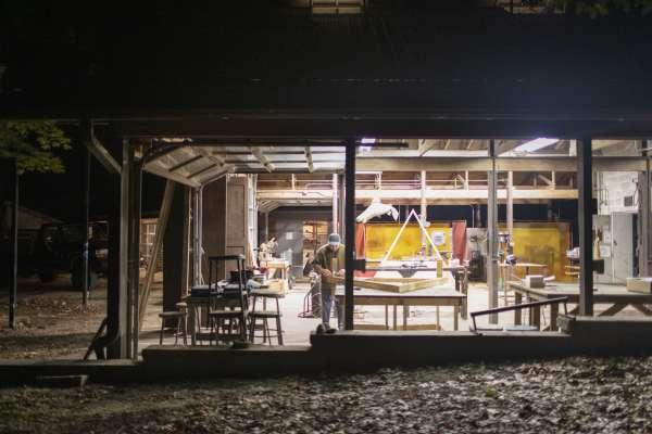 Workshop at Ox-Bow at night