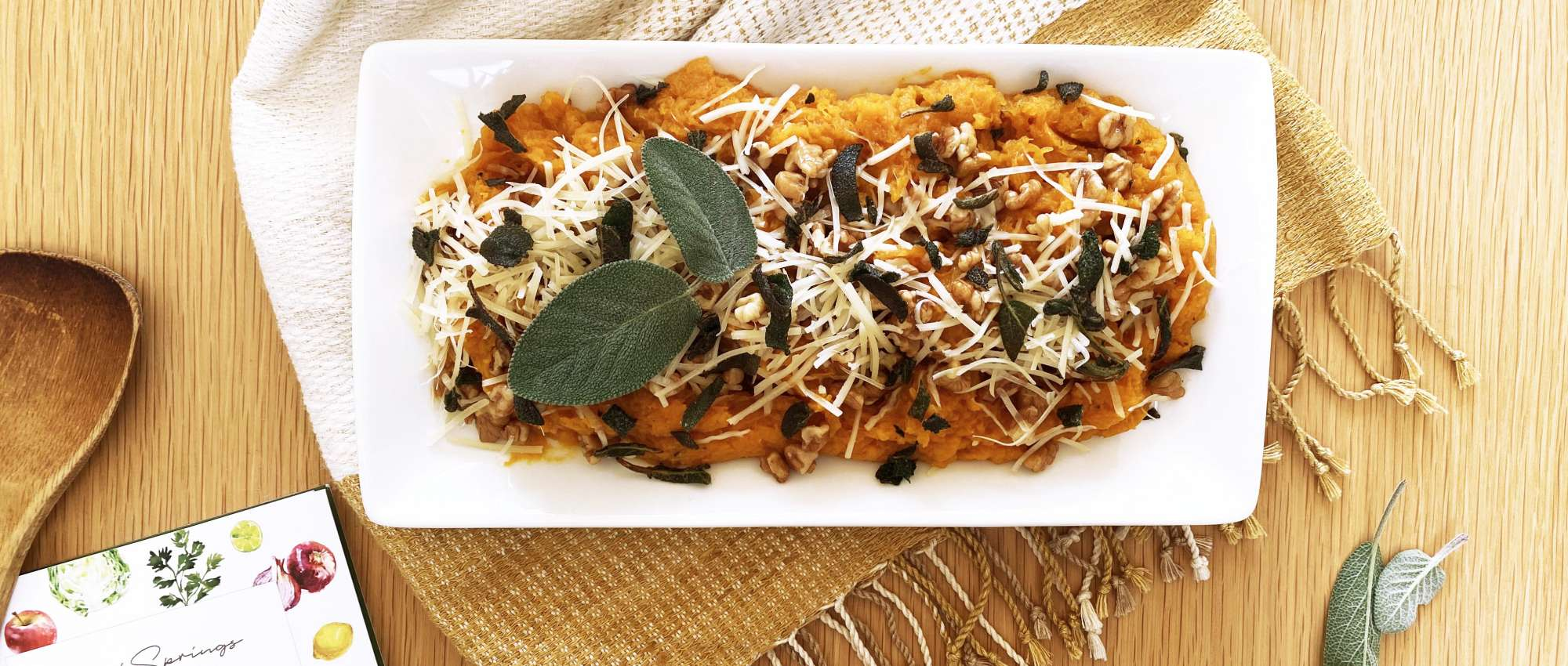 Roast squash with brown butter, walnuts, sage & parmesan