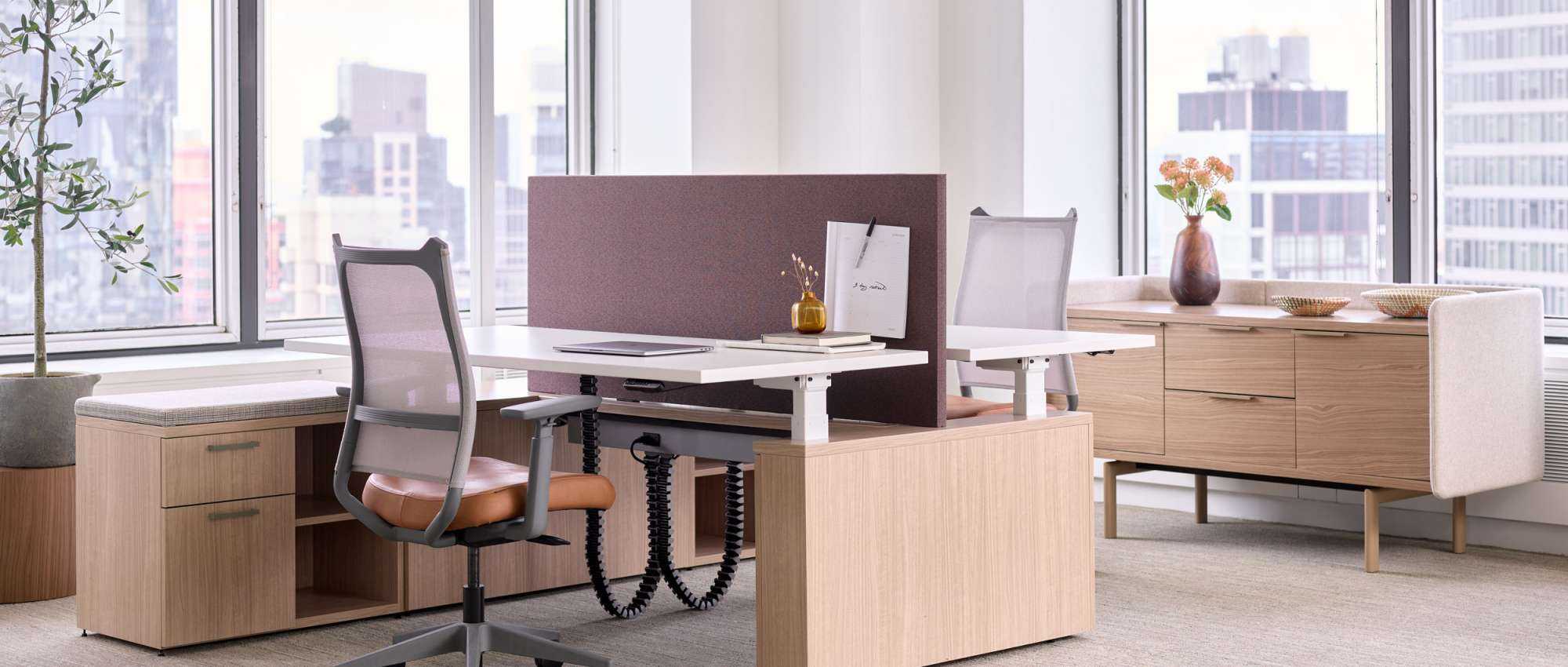 New York City showroom with workstations and storage
