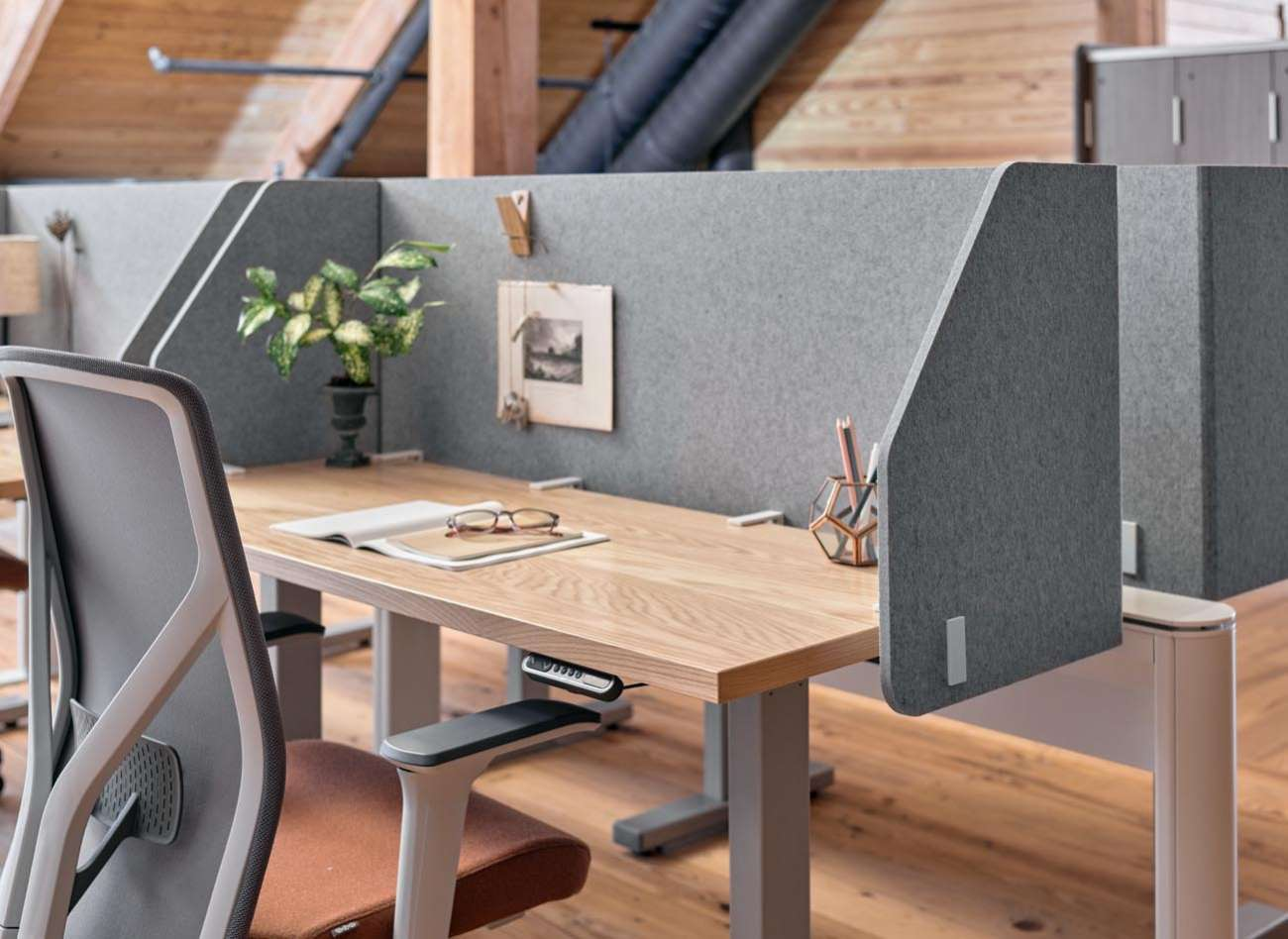 PET worksurface edge modesty and Zonal
