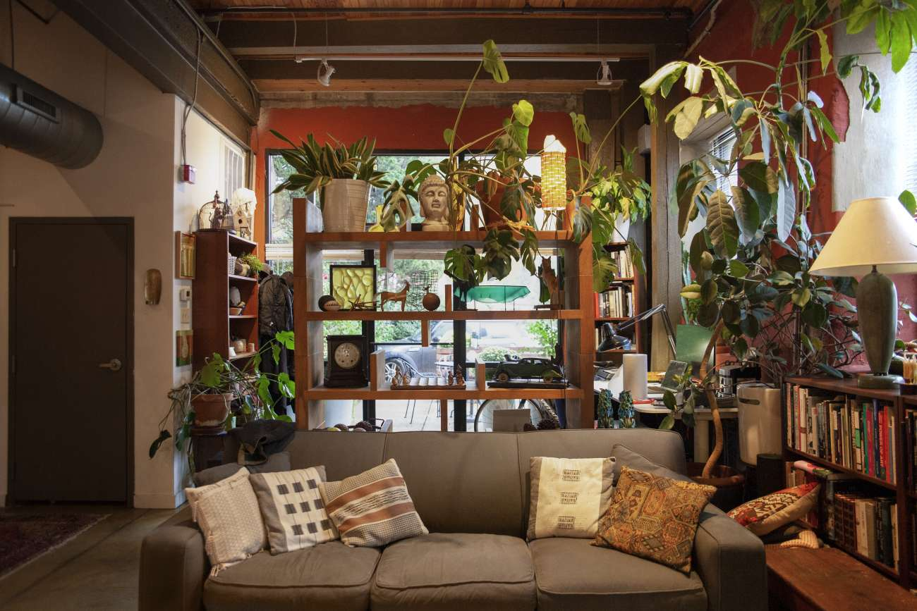 Lyn Godley's home with monsterra plant and cube bookshelf wall