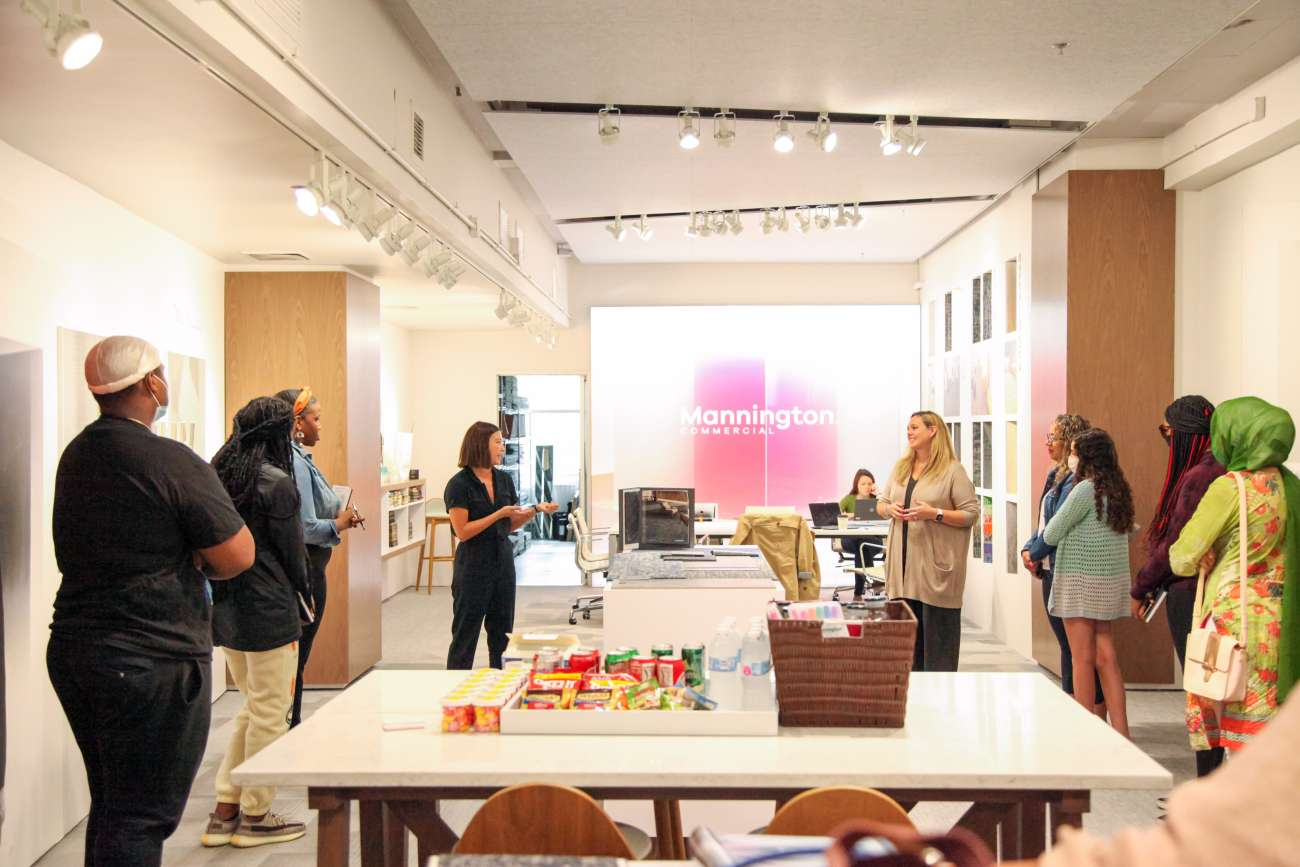 Students of Design Your World gathered at Mannington Commercial