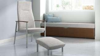 Serony and metal patient ottoman
